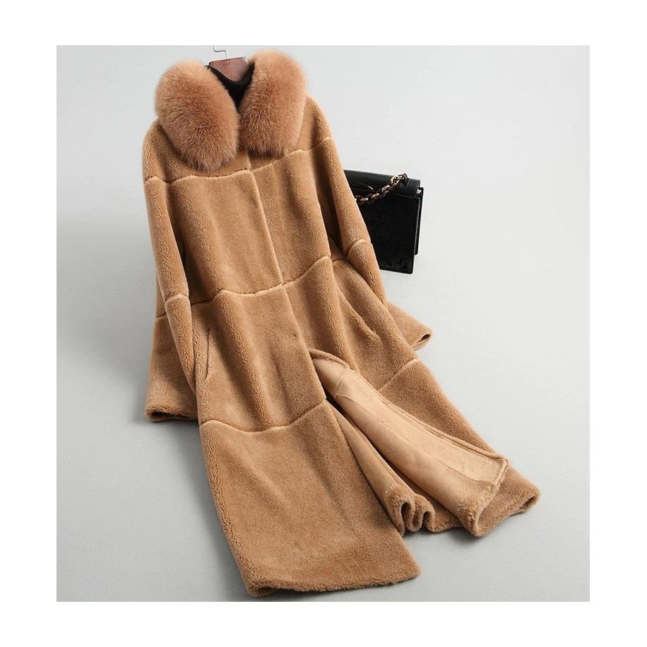 Vlněný Abby kabát z ovčí vlny s liškou