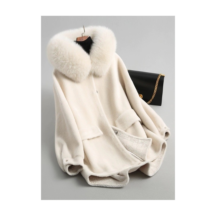 Vlněný Lea kabát z ovčí vlny s liškou