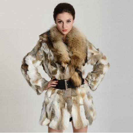 Kožešinový kabát - králík + mýval